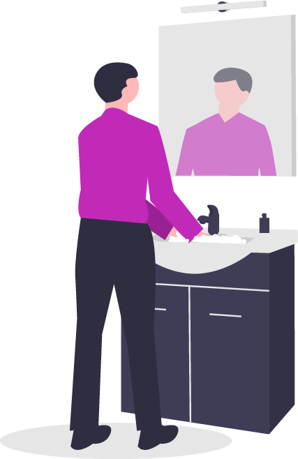 graphic of a person washing their hands at a sink