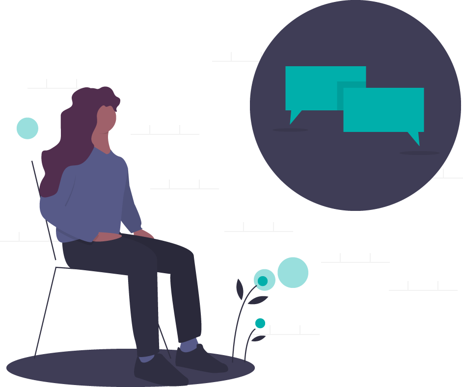 graphic of a person sitting waiting to talk to someone