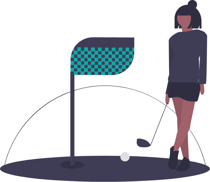 graphic of a person golfing