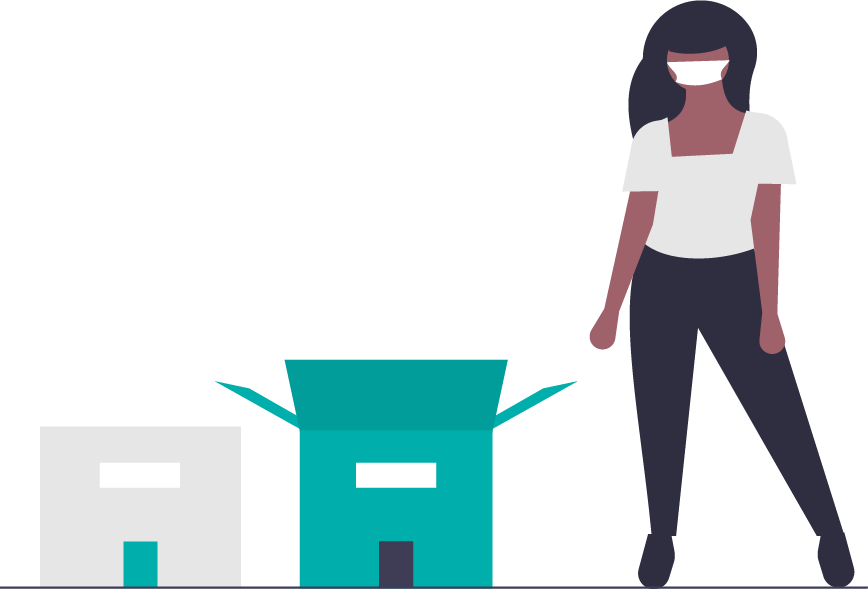 graphic of a student with moving boxes