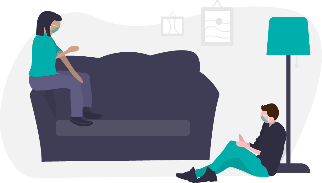 graphic of two people socializing in a living room wearing masks