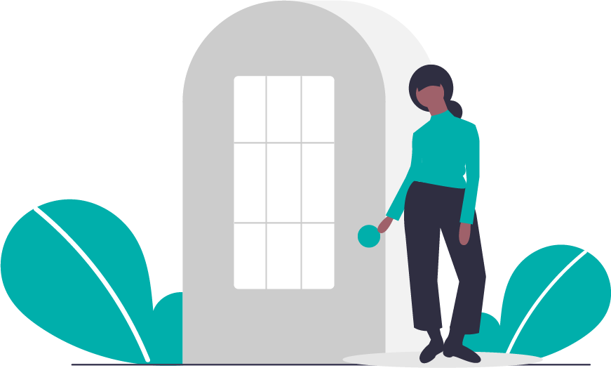 graphic of a student opening a door