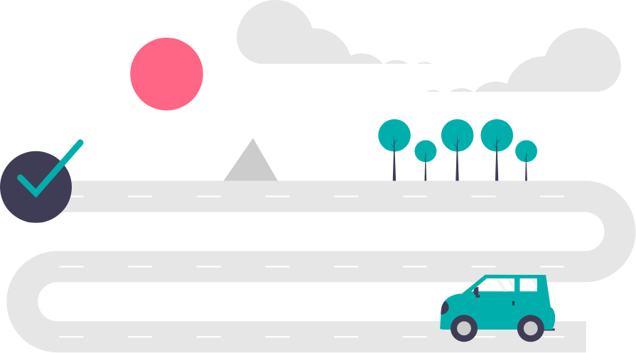 graphic: car on a winding road