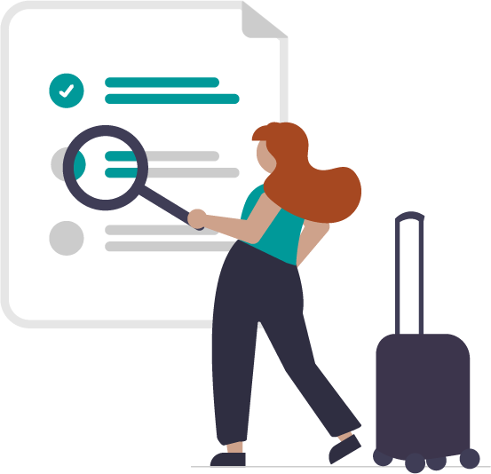 graphic of student, suitcase, and list