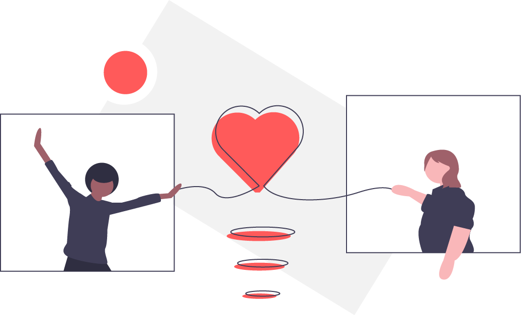 graphic: two people holding strings connected to a heart