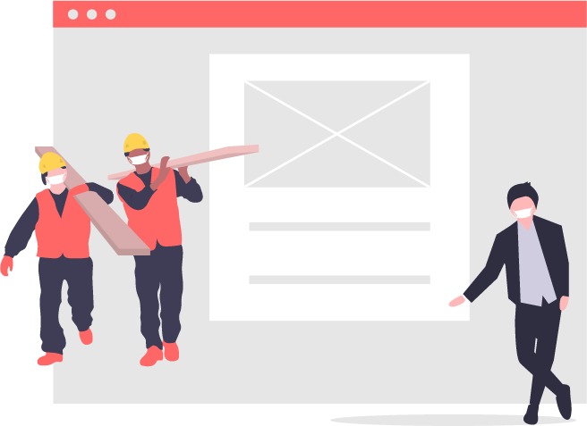 graphic of construction workers and an office worker