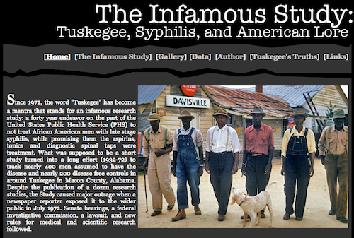 Screenshot of the website The Infamous Study: Tuskegee, Syphilis, and American Lore