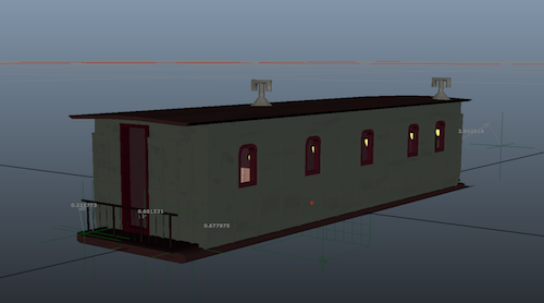Exterior of a graphic representation of a train car