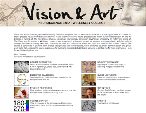 Screenshot of the Vision and Art website homepage
