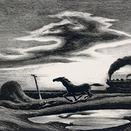 Black and White painting of a horse running