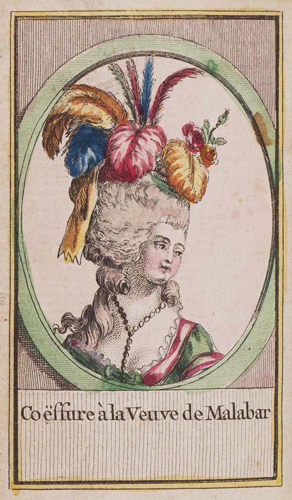 Old drawing of a woman with a very ornate hair style with many colored feathers