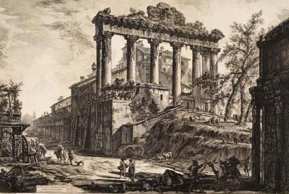 Etching of an ancient Roman building fronted by six pillars