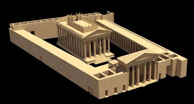 3D rendering of ancient buildings with columns on a blank background