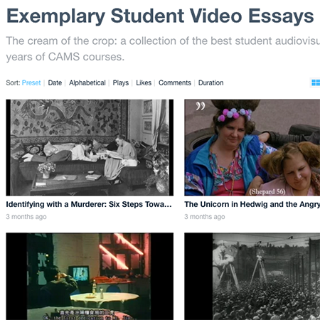 Webpage about exemplary student video essays