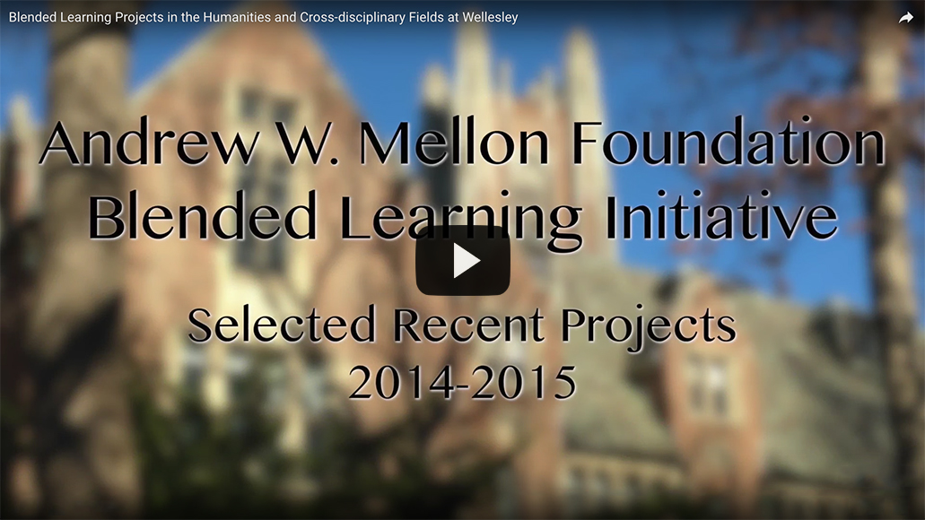 Video thumbnail with text reading Andrew W. Mellon Foundation Blended Learning Initiative - Selected Recent Projects 2014-2015