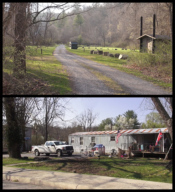 An image of a country road and an image of a home with both a US and a Confederate flag