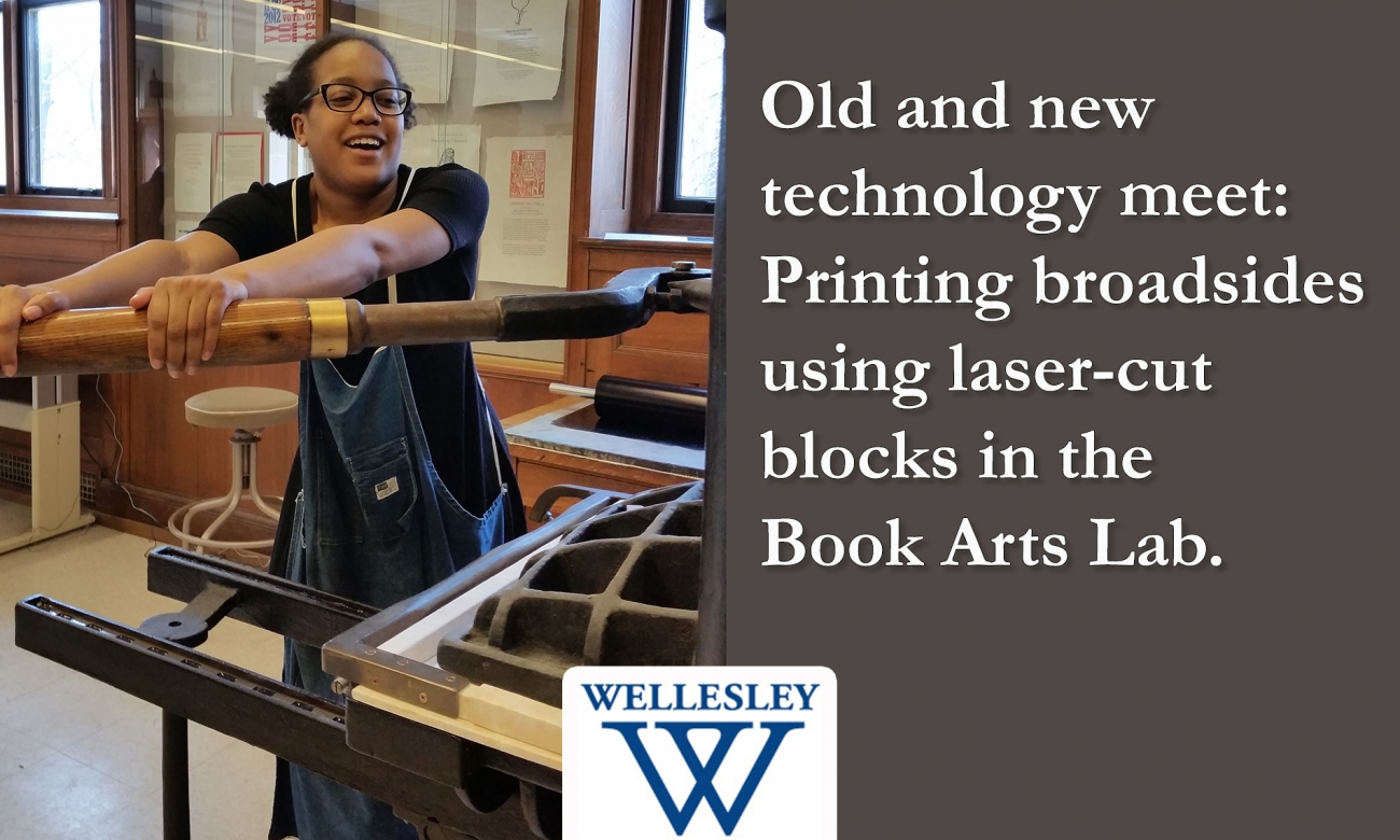 Lasercut blocks used in printing broadside in Book Arts Lab