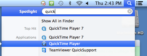 Spotlight search to open QuickTime Player 7