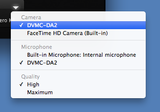 Recording menu with DVMC-DA2 selected as camera and microphone