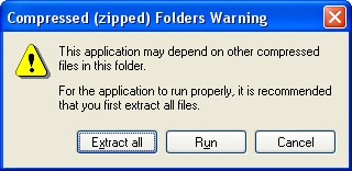 Compressed (zipped) Folders Warning