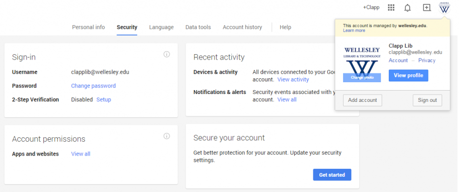 Screenshot of Google Account Security page