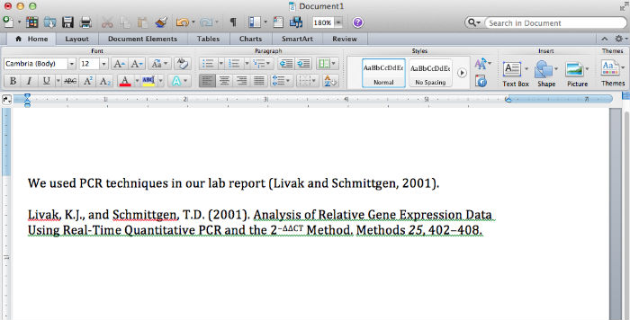 Screen capture of EndNote citation