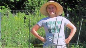 Ellen Bechtel in tomato patch