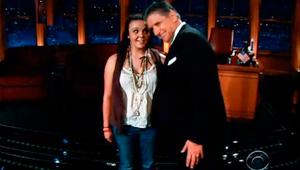 Screenshot from Craig Ferguson show with Stephanie Gebhardt '14