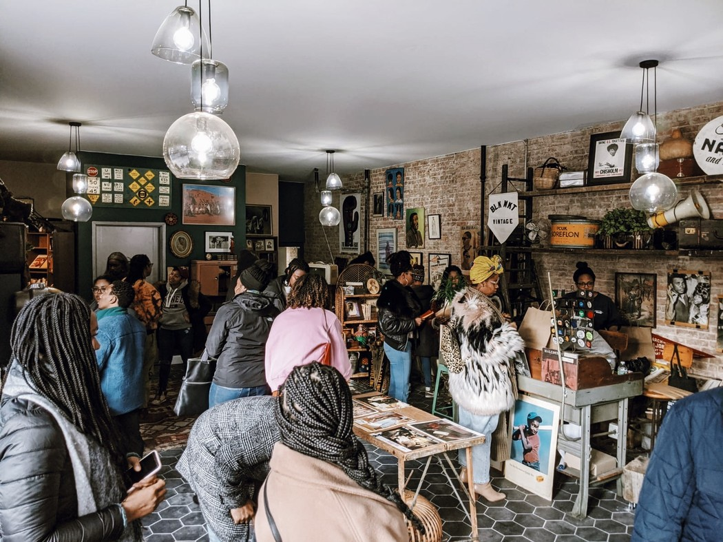 Customers at Black Market (BLK MKT) antique shop in fall 2019