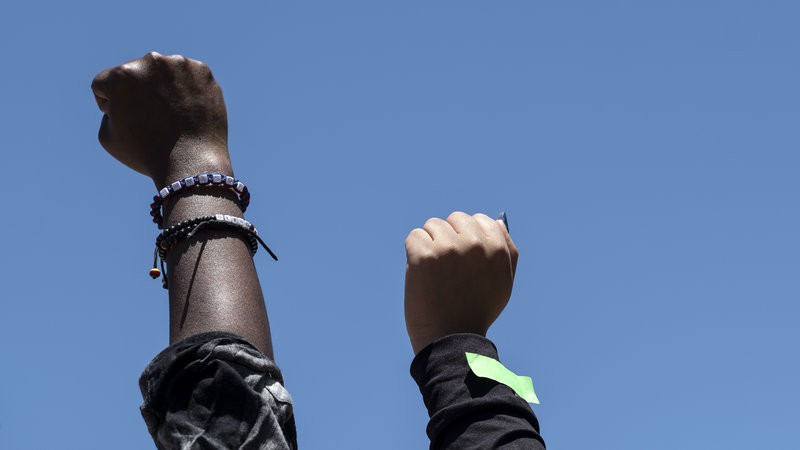 In Tijuana, raised fists show solidarity with the Black Lives Matter movement.