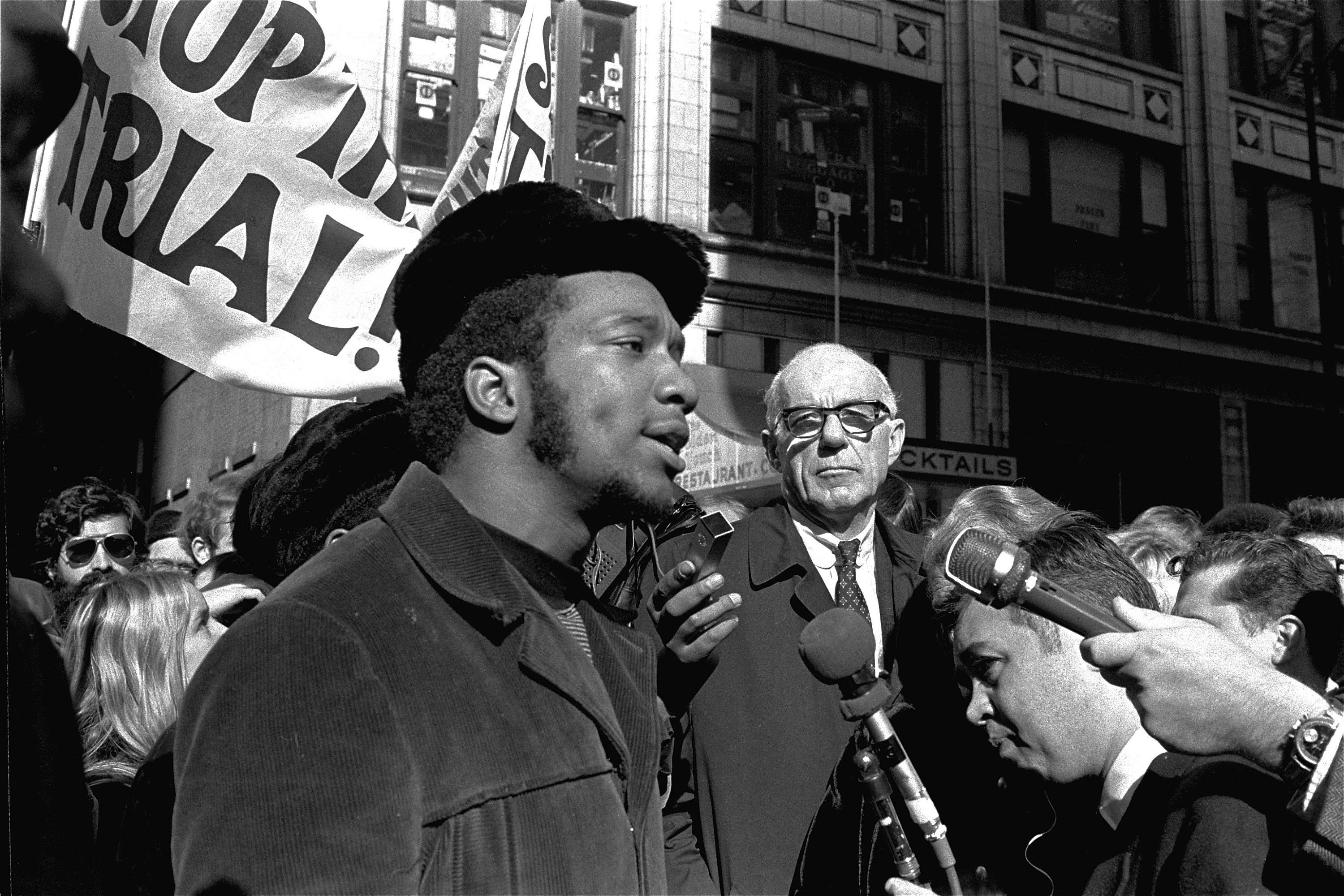 Fred Hampton, center, chairman of the Illinois Black Panther Party,