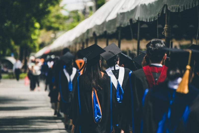 Graduates process at commencement