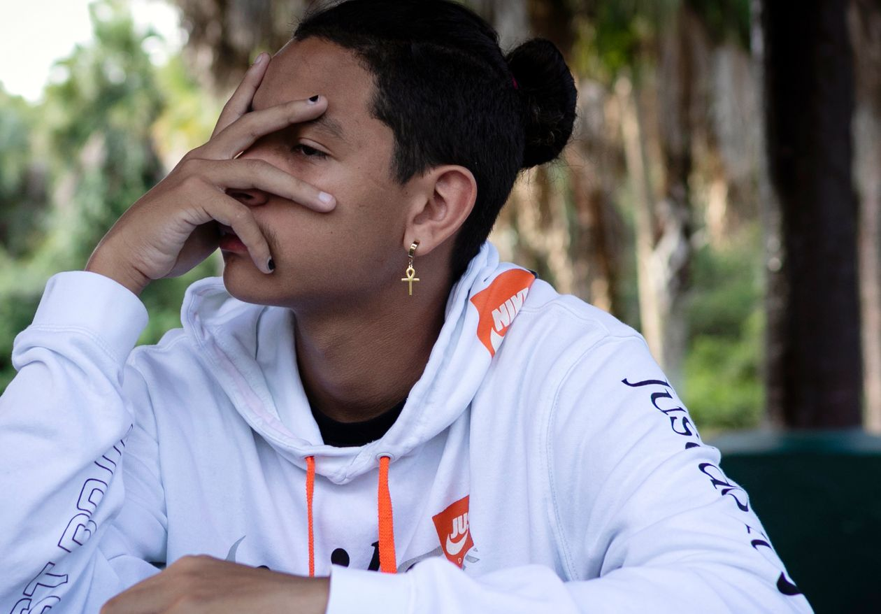 Anthony Borges, a survivor of the mass shooting at Marjory Stoneman Douglas High School, pauses during an interview with AFP in