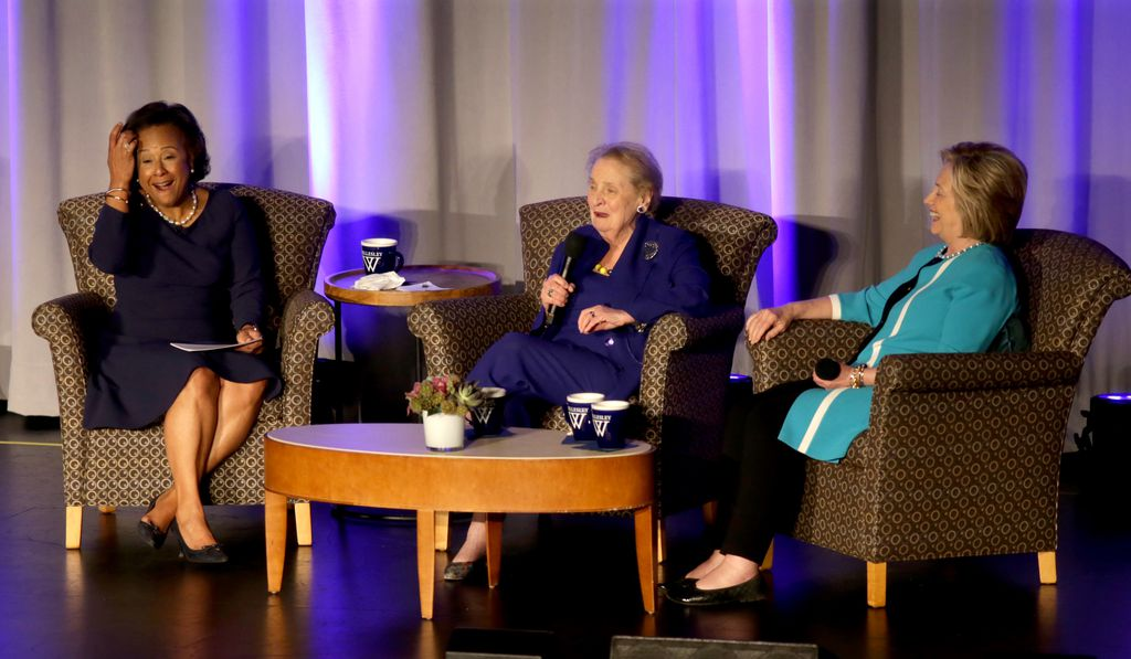 Paula Johnson, Madeleine Albright, and Hillary Clinton share the stage at Wellesley College