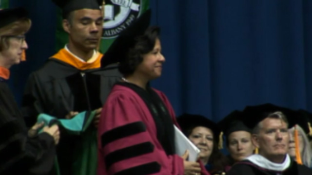 President Johnson delivers the Sage Colleges commencement address