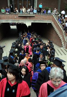 Faculty lining up for commencement