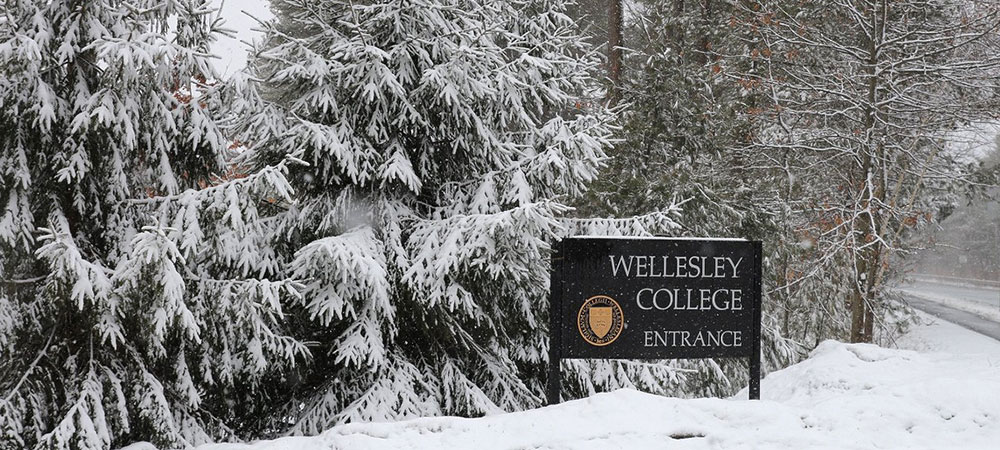 Wellesley College sign in snow