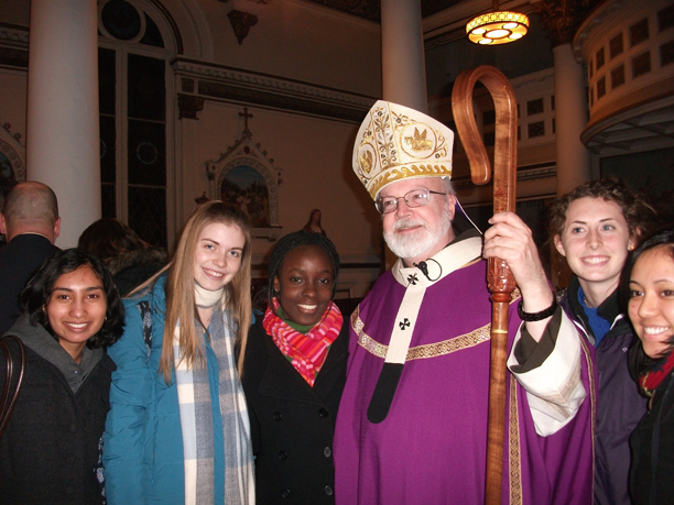 Cardinal Sean O'Malley of Boston with Newman Catholic students.