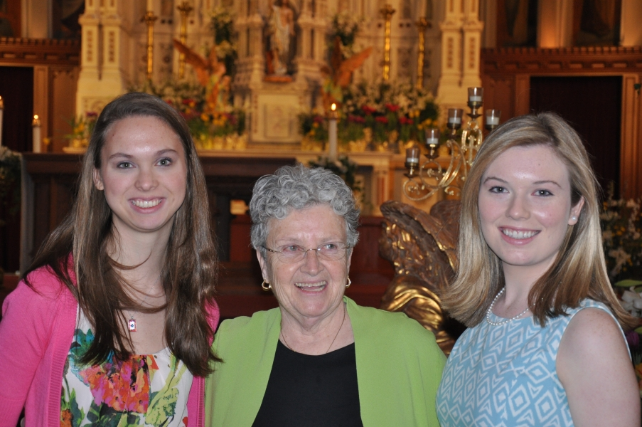 Meredith Ausenbaugh '15 and Mimi Williams '14, seen here with Sister Nancy, received Confirmation at Holy Cross Cathedral on April 6