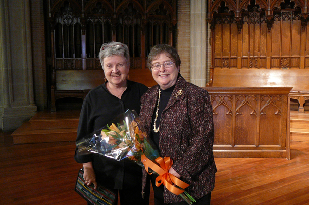 Sister Elizabeth Johnson, CSJ (right, with Sister Nancy), theologian from Fordham University and author of Quest For the Living God  addressed the Newman Community in Houghton Chapel.