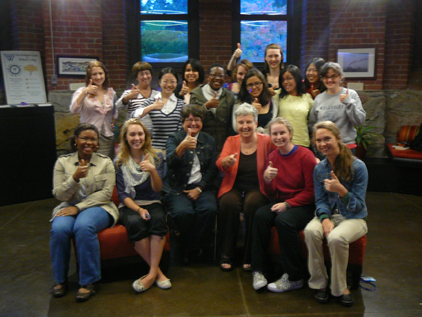Sister Helen Prejean, CSJ, of Dead Man Walking fame, met with some of the Newman students before her talk in Fall 2012.