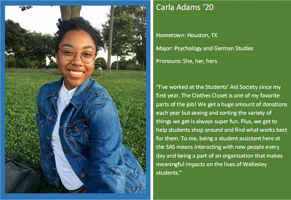 Profile of student worker Carla Adams