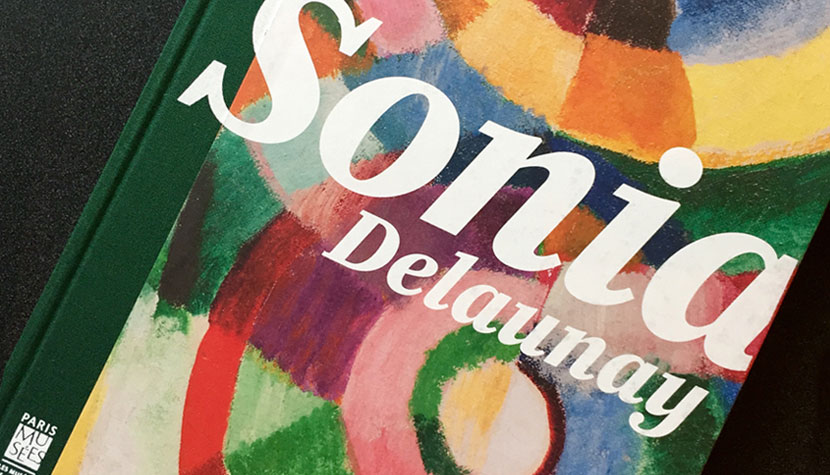 detail of exhibition catalog featuring Sonia Delaunay