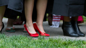 below the knee shot of shoes worn by women at Wellesley graduation