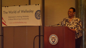 Robbin Chapman speaks at The World of Wellesley MLK Breakfast on January 19.