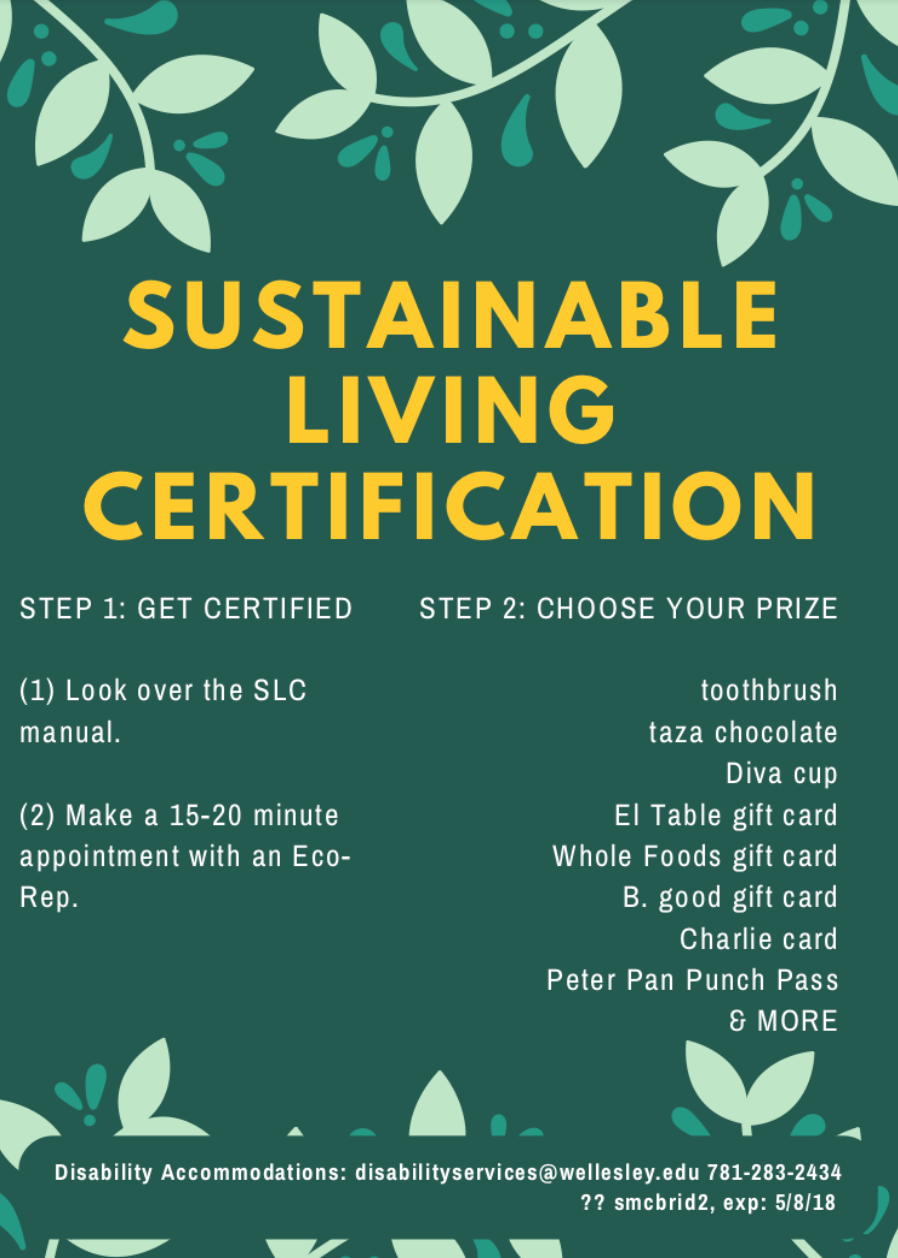 Sustainable Living Certification | Wellesley College