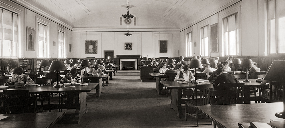 Wellesley Student studying in the Library courtesy of Wellesley College Archives