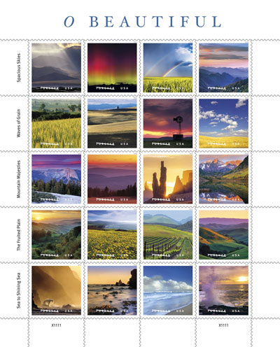The 20 stamps released by the US Postal Service as part of the O Beautiful collection.