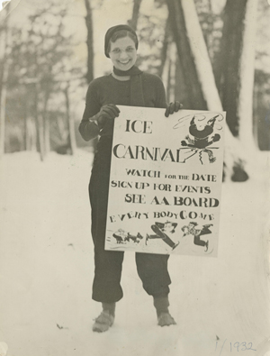 A student from the class of 1932 holds a sign that reads ice carnival