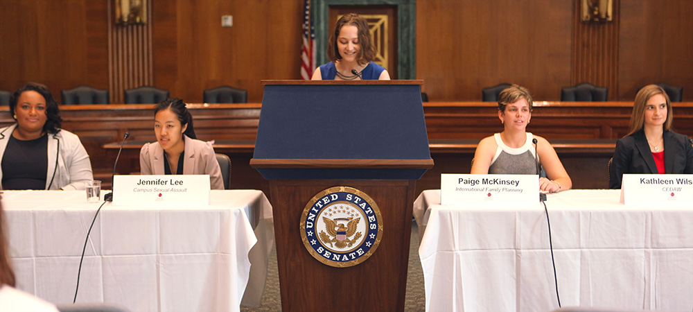 Students speak at a panel